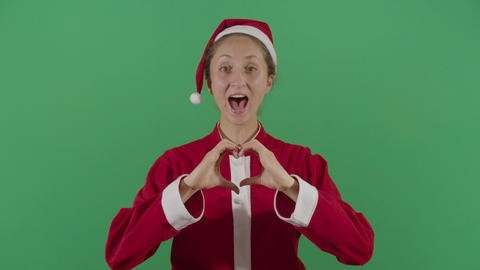 Woman Santa Claus Making A Heart Live Action