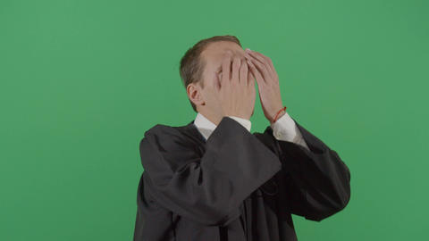 Adult Man Judge Rubbing His Face Frustrated Live Action