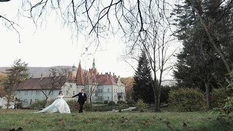 Couple in wedding dress walks. Couple walks between the trees. Wedding dress at Live Action