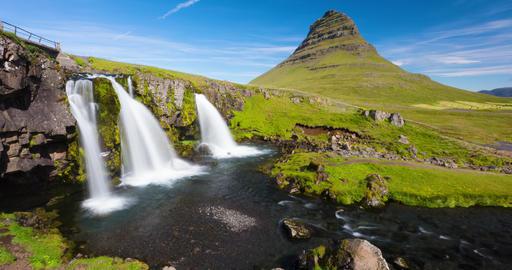 Iceland timelapse photography of waterfall mountain Kirkjufellsfoss, Kirkjufell Live Action