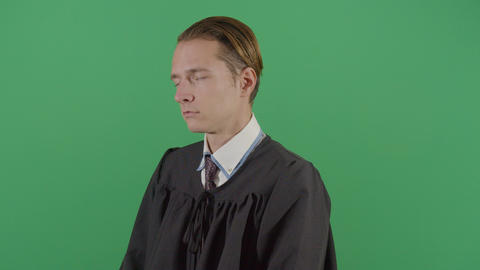 Adult Man Judge Falling Asleep On Court Live Action