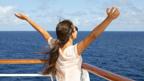 Cruise ship vacation woman enjoying travel vacation at sea Live Action