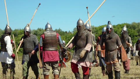 medieval warriors fight during historical festival Footage