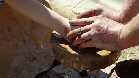 potters working with clay Footage