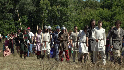 medieval warriors during international historical festival Footage