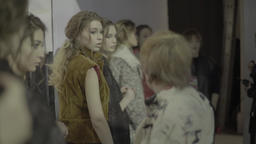 Backstage fashion show. Models preparing for show Footage
