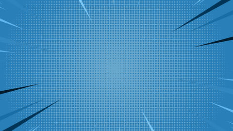 Comic speed radial on blue dotted background Animation
