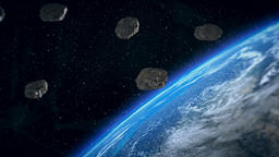 Space animation of the flight of the asteroids Animation