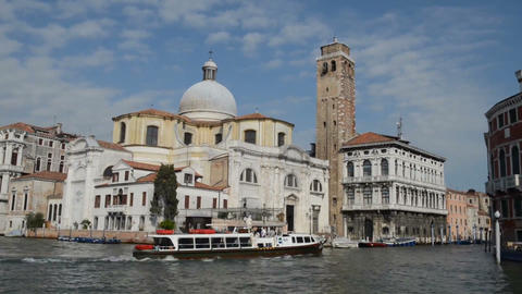 VENICE, ITALY - July 15, 2015: Excursion ship sails through the canal in Venice Footage