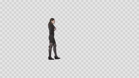 Elegant slender girl slowly walking on transparent background Footage