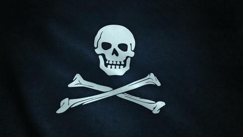 3d animation of pirate flag closeup Videos animados