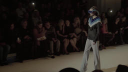 Girl model on the catwalk at fashion show Footage