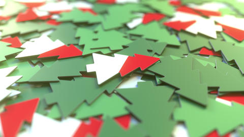 Details of flag of Indonesia on the cardboard Christmas trees. Winter holidays Footage