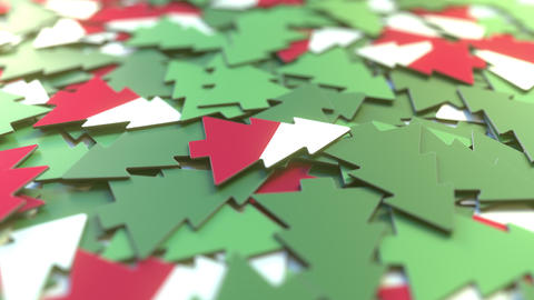 Details of flag of Poland on the paper Christmas trees. Winter holidays related Live Action