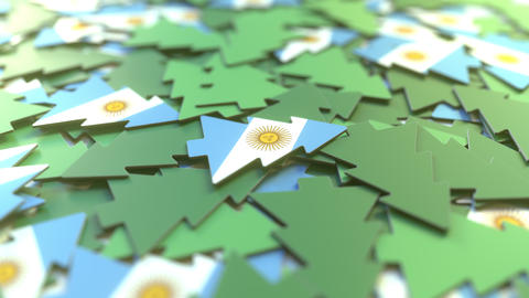Details of flag of Argentina on the souvenir Christmas trees. Winter holidays Live Action