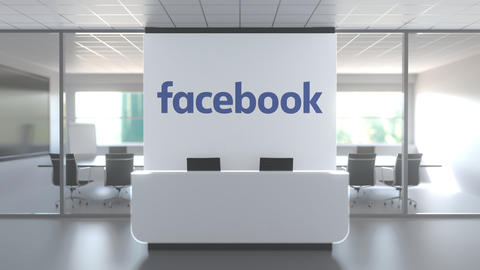 Logo of FACEBOOK on a wall in the modern office, editorial conceptual 3D Live Action