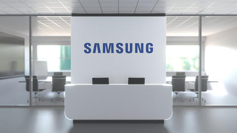 Logo of SAMSUNG on a wall in the modern office, editorial conceptual 3D Live Action