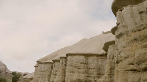Cappadocia, the valley of the pigeons. Shooting from a drone in cloudy weather Live Action