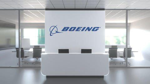 Logo of THE BOEING COMPANY on a wall in the modern office, editorial conceptual Live Action