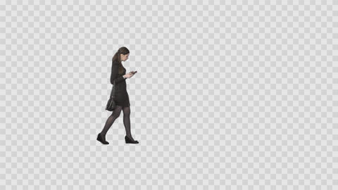 Elegant young woman walking and looking at cell phone. Alpha channel Footage
