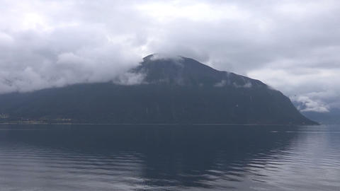 mountains covered with mist. Svartisen Norway Footage