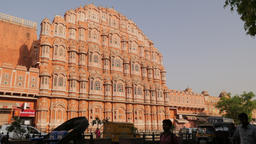 Hawa Mahal or palace of winds with street traffic,Jaipur,India Footage
