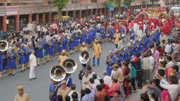 Marching brass band in procession,Jaipur,Gangaur,India Footage
