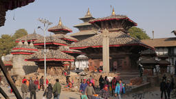 People,pigeons and temples on Durbar square,Kathmandu,Nepal Footage