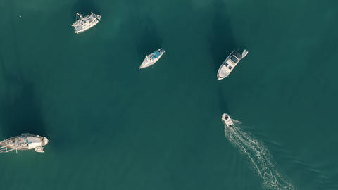 Aerial top down view of moving motor boat and anchored yachts Live Action