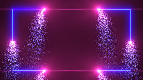 Blue and purple glowing sparks drawing glowing frame with copy space Live Action