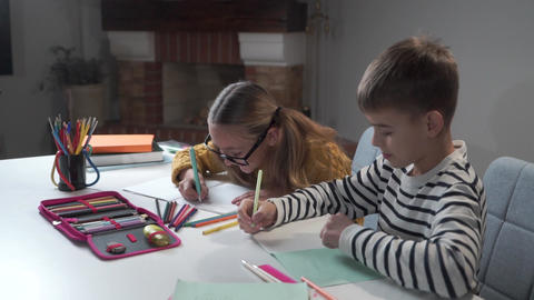 Caucasian brother and sister doing homework together. Joyful children writing in Footage