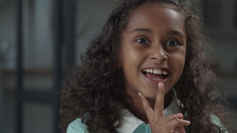 Joyful african american girl laughing out loud Footage