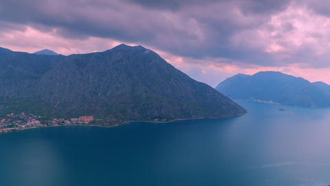The movement of rain clouds over the mountains in Montenegro Footage