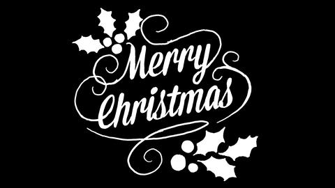 merry christmas logo, designed in chalkboard drawing style, animated footage Photo