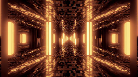 futuristic sci-fi hangar tunnel corridor with bricks texture and glass windows Animation