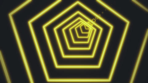 Bright white lines are crossing and forming neon pentagon tunnel on black Footage