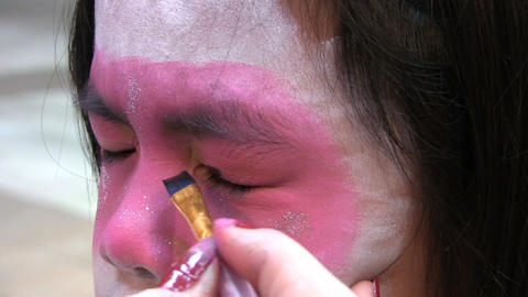 Japanese Face Painting Eyeliner Stock Video Footage