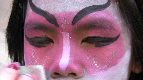 Japanese Face Painting Powder Stock Video Footage