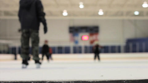 Kids Skating Off Ice Rink Stock Video Footage