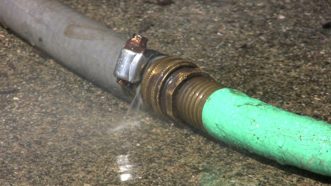 Leaking Garden Hose Close Up Stock Video Footage