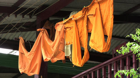 Monk Robes Hanging On The Line Stock Video Footage