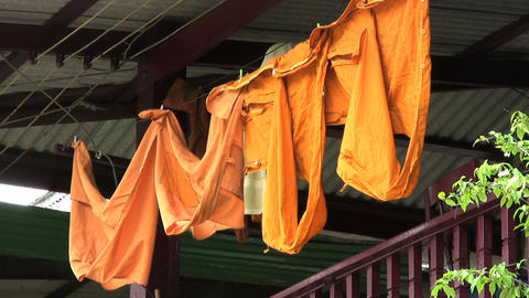 Monk   Robes   Hanging   On   The   Line stock footage