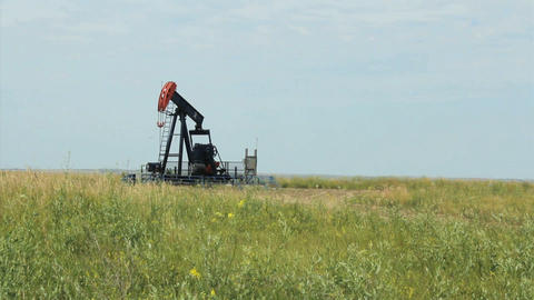Oil Derrick On Canadian Farm Footage