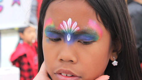 Princess Crown Face Painting On Asian Girl Stock Video Footage