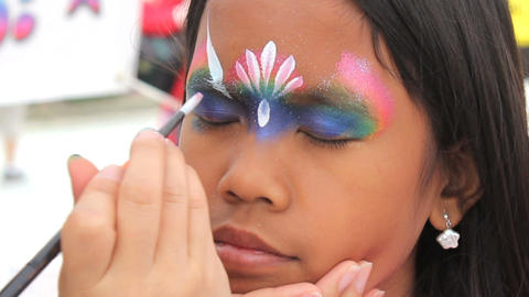 Princess Crown Face Painting On Asian Girl Footage