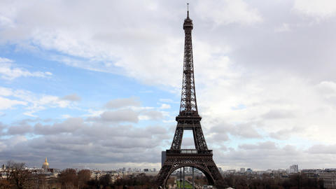 Eiffel Tower in Paris. Time Lapse Footage