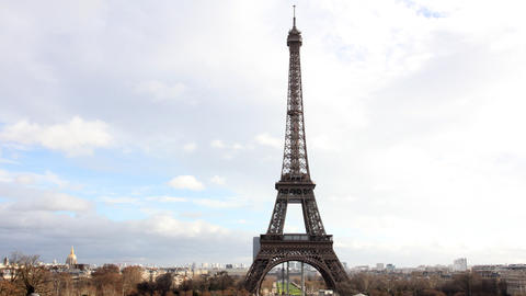 Eiffel Tower in Paris. Time Lapse Stock Video Footage