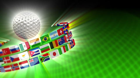 Golf Ball with International Flags 51 (HD) Stock Video Footage