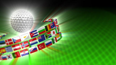 Golf Ball with International Flags 51 (HD) Animation