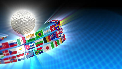 Golf Ball with International Flags 53 (HD) Stock Video Footage